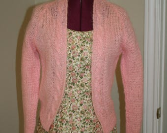 50s 1950s pink hand knit mohair sweater
