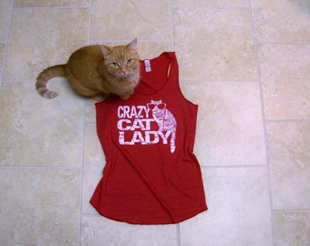 Cat shirt, workout tank, Crazy Cat Lady, tank top, funny tees, Womens t shirt, red, Racerback Tank Top, summer fashion, yoga tank top, cats