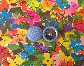 Fabric Covered Button Earrings / Blue Chambray / Hypoallergenic / Studs / Wholesale Jewelry / Handmade Earrings / Gifts for Her