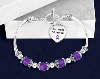 12 Domestic Violence Awareness Partial Beaded Bracelets (12 Bracelets) (B-113-4DV)