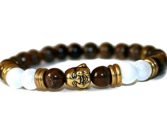 Mens Yoga Bracelet, Buddhist Bracelet Mens Bracelet,Lucky Buddha Bracelet, Mens Wrist Mala Bracelet, Tiger Eye Bracelet for Men Jewelry