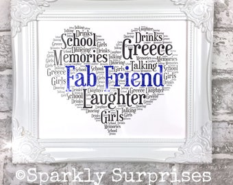 Best Friend Gift, Personalized,Framed print, Word Art, sparkly words, gift for Friend, Friendship Gift, Sparkled Heart, Sparkly picture,