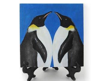 Penguin Pair Valentine gift - romantic penguins valentine's day painting - love art - miniature art
