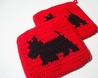 Red Scotty Dog Potholders, Scottish Terrier Potholders, Crochet, Crocheted, Potholders, Pot Holders - Set of Two - Owner Gift MADE TO ORDER