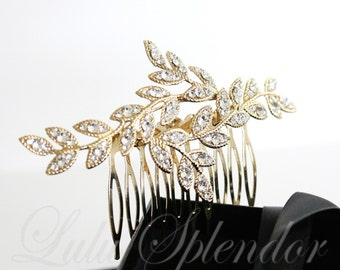 Wedding Hair Accessories Gold Bridal Hair Comb Leaf Hair Jewelry Crystal Leaves Vintage Comb Hair Piece Wedding Hair Accessory NEVE CLASSIC