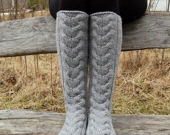 Hand knit wool slipper socks, Knit Knee Socks, Cable Knit Slipper Boots, Stockings, Knitted slippers socks,  Socks for home, socks for sleep