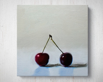 Cherry Duo - Fruit Oil Painting Giclee Gallery Mounted Canvas Wall Art Print