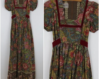 Vintage 1970s Romantic Puff Sleeve Maxi Dress - Young Edwardian - Bust 32 (B2)