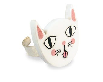 Mocking Cat Ring - Adjustable Silver Kitten White Pink Kawaii Cute Funny Kitschy Colorful Laser Cut Perspex Acrylic Kittens Retro