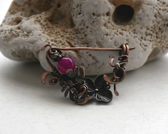 Copper shawl pin, Wire Wrapped Shawl Pin, Art Nouveau Botanical Floral Shawl pin, Scarf pin, Wire Brooch, Rustic Copper Brooch
