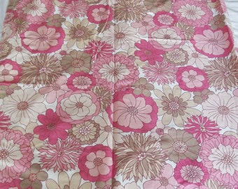 Vintage Single Curtain - Flowery Fabric - pink and taupe M & S