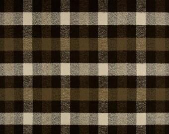 Olive Tan Plaid fabric - Robert Kaufman