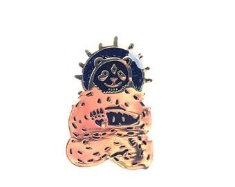 Super Limted limited edition third eyed  Spirit animal Panda  Black on Gold enamel hat pin only 20 made