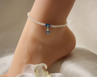 Something Blue Anklet Swarovski Crystal Pearl Beach Jewelry Bridal Anklet Wedding Anklet Beach Wedding Jewelry Ankle Bracelet