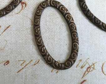 Vintage Oval Brass Ring with Scroll Detail