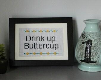 Cross Stitch Pattern PDF - Drink Up Buttercup