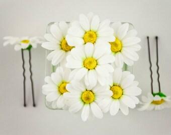 Daisy hair pin Daisy flowers for hair White flower headpiece Wedding hair pins Bridal hair pins Wedding hair flowers accessories Floral hair