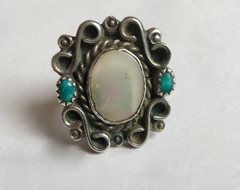 vintage mother of pearl and turquoise southwestern ring, size 6.5