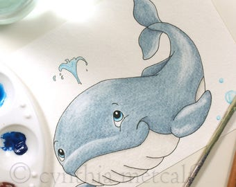 Blue Whale Nursery Art, Original Whale Watercolor Painting, CUTE Whale, Ocean Nursery, Children's Wall Decor, Baby Room, Newborn Decor,Beach