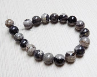 Black Silver Leaf Jasper round beads—10mm