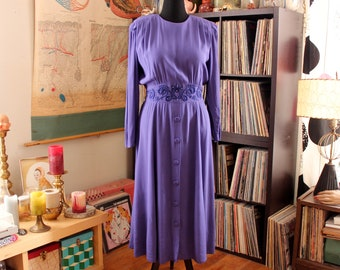 1980s does 40s dress . violet purple dress with soutache & pearl trim, button back rayon dress by Karin Stevens - medium large
