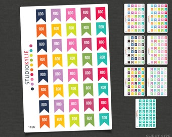 RDO -  Rostered Day Off Flag Planner Stickers -  Repositionable Matte Vinyl
