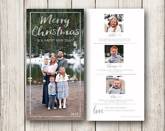 Holiday Cards / Christmas Photo Card 4x8 (Digital File or Printed Cards)