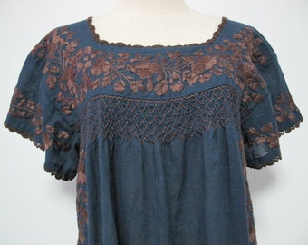 Mexican Embroidered Blouse Cotton Short Sleeve In BLue, Boho Blouse