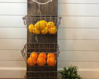 Farm Fresh Produce Hanger/Fruit Bowl/Kitchen Organization/Farmhouse Kitchen Decor/Rustic Decor/Kitchen Decor/Metal Baskets