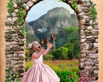 Digital backdrop for girl, Digital Background, fairy castle photoshop digital backgrounds, childrens backdrop