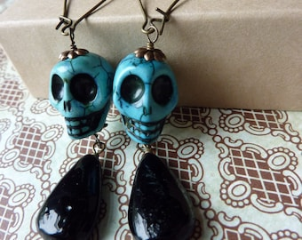 Blue Day of the Dead Skull Earrings with Black Drop