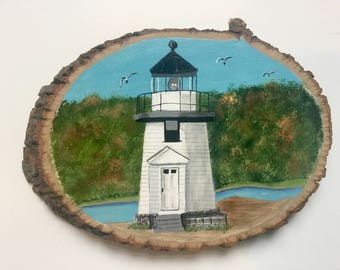 Mystic River Lighthouse Painting on Basswood