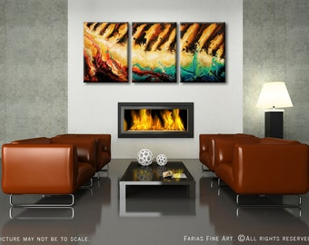 24x54 ORIGINAL Abstract Painting Modern Earth Tones Teal Brown Mustard Black Fine Art by Federico Farias