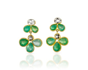 Emeraude et Citrine pierres boucles d'oreilles, grosse boucles d'oreilles, grosses boucles d'oreilles émeraudes, boucles d'oreilles citrine jaunes, boucles d'oreilles citrines, vert émeraude