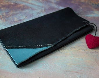 Leather business and credit Card Holder with Pendant Heart, Credit Card Case, Leather Card Wallet Limited Edition