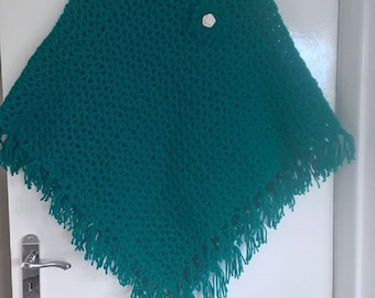 Hand Crochet Sea Green/Jade Ladies Poncho with flower decoration