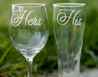 His and Hers Glasses, Set of 2, Wedding Toasting Glasses, Anniversary Gift, Couple Gift, Wedding Gift, Housewarming Gift, More Glasses Avail