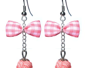 Earrings retro glamour style pink gingham bowtie BB