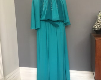 Vintage Blue Maxi Dress | Size 10