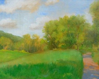 Meadow Path Landscape Painting, Oil Painting Of Meadow, Pennsylvania Meadow, Trees With Meadow, Meadow In June, Summer Meadow Painting,