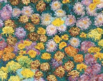 Kaufman CLAUDE MONET Digital Print Flowers Garden Fabric, Impressionist Quilt, Landscape Art Quilt, Brushstrokes, Floral, Fabric By the Yard