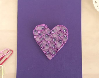 Quilling Paper Heart Shades of Purple Heart for Home Decor, Dark Purple Heart, Gifts Under 30, Valentines Day Heart, Nursery Gifts
