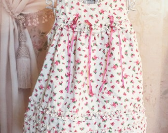Girls floral dress with ribbon detail