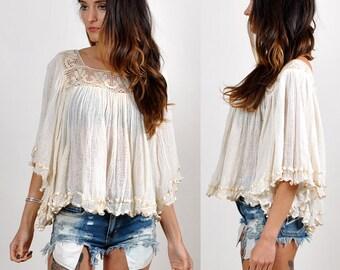 vintage gauzy boho dream blouse  H16