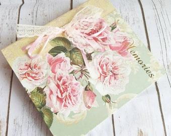 Roses Album, Shabby Chic Album, Cottage Chic Photo Album, Wedding, Garden Theme Album, Vintage Roses Album
