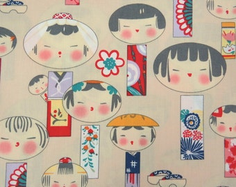2667A -- Kawaii Kokeshi Doll Fabric in Bisque, Japanese Doll Fabric