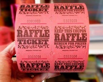 Red Raffle Tickets / 20 Tickets / Red Tickets / Carnival Tickets / Journal Supply / Scrapbook Ephemera