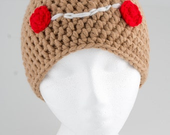 Chunky gingerbread cookie tuque - handmade crochet beanie