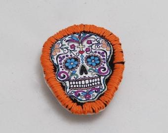 Orange Sugar Skull Halloween Iron On Patch
