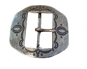 Vintage Western Concho Style Belt Buckle - Engraved - Silver - Pewter - Black Detailing - Ladies -  Gift for Her -  - Mothers Day Gift Idea